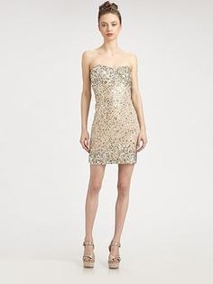 Alice + Olivia Larken Sequined Mini Sweetheart Dress #SaksLLTrip