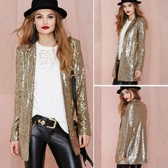 Punk Style Long Sleeve Lapel Sparkly Sequins Blazer