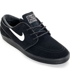 Add some serious pep to your step with the springy Lunar updated Stefan Janoski skate shoes from Nike SB. This timeless classic has been upgraded with a Lunarlon construction on an all black upper for impact protection and comfort and a modified herringbo