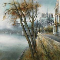 Marc Chapaud 1941 | French landscape painter | Tutt'Art@ French School, Tree Art, Painting Inspiration, France, Paris, Landscape, Minden, Artwork, Moon