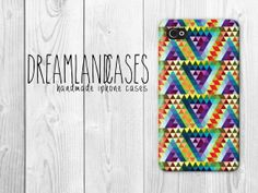Rainbow Hipster Triangles Pattern iPhone Case by DreamlandCases, $13.00