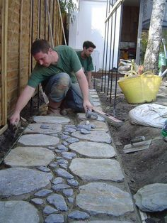Japanese style path nearing completion #landscaping #gardendesign #garden… … #japanesegardendesign