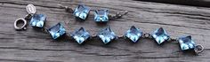 La Vie Earrings and Braclet Set Matching Blue Swarovski Crystal Pre-0wned