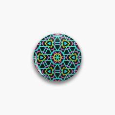 'Neon Wheels' Pin Button by Calislahn Cloth Flowers, Pin Button, Circle Logos, Badge Design, Surface Pattern Design, One Design, Lapel Pins, Order Prints, Badges