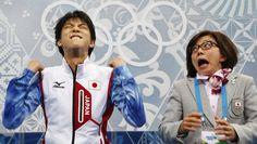 La joie du Japonais Yuzuru Hanyu lors du programme court de patinage artistique à #Sotchi #skating #iceskating