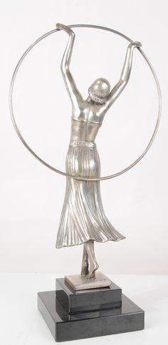 Bronze Art Deco Hoop Dancer by Chiparus (The Back) www.canonburyantiques.com