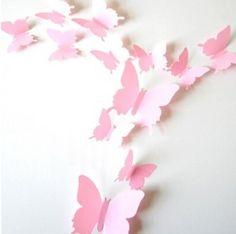 3D vlinders Roze effen