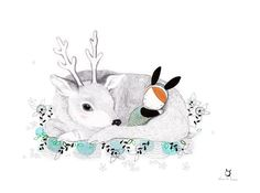"""Illustrations by Laura di Francesco (2/2) """"Some hand painted wildlife illustrations… made with love! (watercolor, ink, pen, pencil, chalk, pastels on white cotton paper)"""" On sale"""