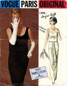 60's VTG VOGUE PARIS ORIGINAL Evening Dress Jacques Griffe w/Lab Pattern 1392 14