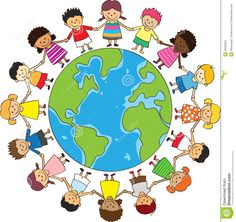 Illustration of happy children holding hand with globe vector art, clipart and stock vectors. Happy Children's Day, Happy Kids, Children's Day Photos, Children Holding Hands, Foto Poster, World Crafts, Banner Printing, Child Day, World Peace