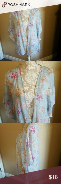 Floral Open Front Kimono size L NWOT NWOT Beautiful Chifon Baby Blue Floral Kimono Open Front size L but fits like a M. This Kimono has a figure flattering fitted cut. Beautiful variations of pink flowers. Perfect for so many occasions. Reposh from one of my favorite closets rf012984. Sad to let it go but does not fit like I would like. Boutique Tops