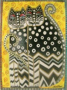 by Laurel Burch Polka dot cats - I cross-stitched some of her cats....her work is wonderful.  Regretably, on September 13, 2007, Laurel passed away due to complications from the bone disease, osteopetrosis, which she was actually born with.