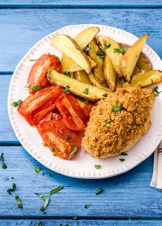 Easy Mozzarella-Crusted Chicken with Garlic-Roasted Tomatoes and Crispy Potato Wedges | HelloFresh Recipe
