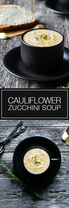 Cauliflower Zucchini Soup - Healthy  soup with lots of veggies!