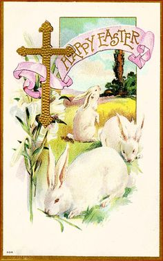 #Easter #antique #postcard #bunny #chick #egg #cross