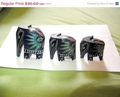 ON SALE three wood elephant figurineshandmade by VintageAnd4All