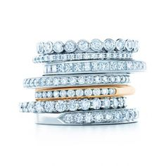 Tiffany and Co.'s Celebration bands come in a multitude of styles and you can wear one as a band, by itself, or several together to make a statement.