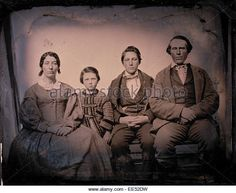 Family Portrait, Parents with Two Children, Daguerreotype, circa 1850's - Stock Image