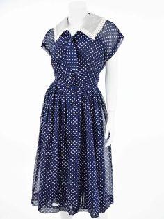 50s Semi Sheer Navy Polka Dot Shirtwaist Dress-XL