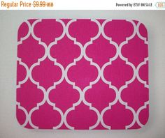 SALE -- Mouse Pad mousepad / Mat - Rectangle or round - Trellis in pink
