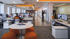 Workplace Confidential: An Inside Look at Design Offices Across LA - Architizer Corporate Office Design, Workplace Design, Teamwork And Collaboration, Personal Storage, Open Office, Change Management, Design Competitions, Design Process, Design Offices