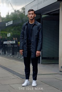Men's Street Style   Navy is the new Black - The Mac is the perfect wet weather jacket. It's lightweight and cool and keeps us safe from those summer showers. Coloured in navy and styled with formal navy trousers and a plain tee and white trainers to keep the smart/casual mix up.   Shop now at The Idle Man