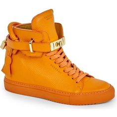 BUSCEMI Crocodile-grained leather high-top trainers