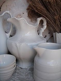 pitchers how much I love white and vintage items. I am old lady so I was able to collect many vintage items. I love my home. Thank you God you have been very kind to me trough my life. Enjoy life. Every minute counts, before you know it. You will be my age. :))))
