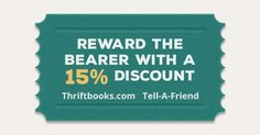 Great website to find cheep books 📚 Check out ThriftBooks and follow the link by clicking visit :) Use the coupon code inside to save 15% off your first order and they get a discount too!