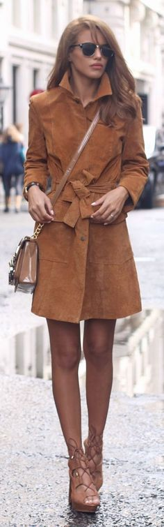 Camel Suede Trench L F W Fall Inspo by Nada Adellè