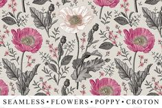 Seamless Flowers Poppy Croton Floral by Vintage on @creativemarket