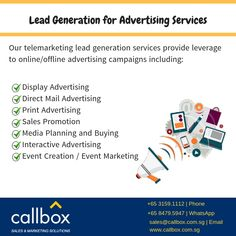 Increase conversion rate with warm and qualified Singapore advertising leads for your sales team. Call us at 3159 1112 and fill your calendar with appointments. Direct Mail Advertising, Display Advertising, Advertising Services, Print Advertising, Advertising Companies, Advertising Campaign, Ads, Event Marketing, Sales And Marketing