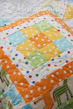 """Baby quilt """"Little horse"""". Details. Made by Marie's quilts."""