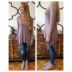 DRESS FOR LESS Fringe Side Tunic Mocha $58- NOW AVAILABLE AT SPLASH & ONLINE//www.splashtribe.com #musthave #newarrival #shop #online #splashtribe #dressforless #fringe #tunic #fringetunic #fringesidetunic #fall #fashion #fashionista #style #boutique #stlouis #stlboutique #stlouisboutique #shoplocal #splash #splashstl #website #onlineshopping #shopsplashtribe #joinourtribe