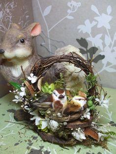 OOAK small birds on vine wreath original magnet Vine Wreath, Felt Wreath, Wreaths, Wedding Birds, Bird Mom, Silk Flower Arrangements, Table Arrangements, Decorative Bird Houses, Small Birds