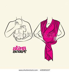 Infographics, how to wear a scarf sling. The correct position of the baby in a sling. The stylized image of mother and baby in her arms. Vector…