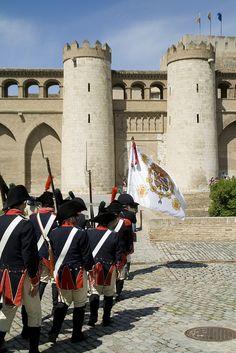 Palacio de la  Aljaferia Zaragoza  Spain  (Voluntarios de Aragón,recreación histórica)