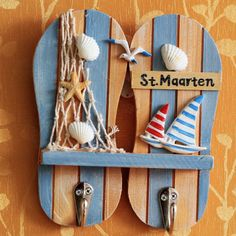 Mediterranean Style Shells Seagull Sailing Decorative Slippers Double Coat Hook Marine Crafts Wall Hanger free Shipping