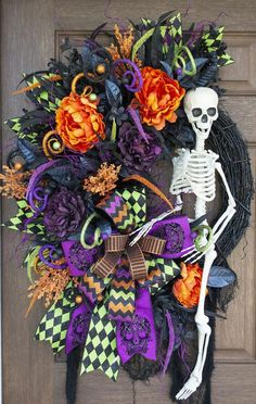 Bones is ready to say hello to your trick or treaters this Halloween! This Halloween wreath is loaded with Halloween florals, glittered picks and sprays, designer ribbons topped off by the Halloween Door Wreaths, Holidays Halloween, Halloween Crafts, Halloween Decorations, Fall Wreaths, Halloween Magic, Halloween 2018, Halloween Stuff, Mesh Wreaths