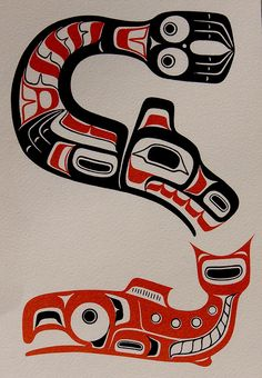 Pacific Northwest Indians Tools | Native People First Nation Sea Lion & Salmon art - a photo on ...