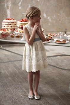 @kara Chase Amazing Knee-length Sheath Scoop Lace Flower Girl Dresses - for a more casual feel...super sweet.