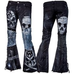 Custom Pants Black and Blue Skull Laced WSCP-129 MTO