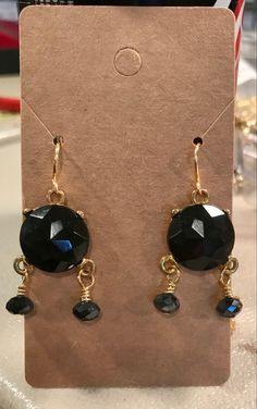 Crystal Earrings, Drop Earrings, Black Crystals, Vintage Black, Jewelry, Jewlery, Jewerly, Schmuck, Drop Earring