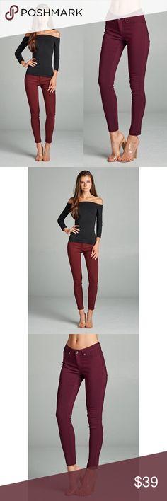 "Fall Basic Pants - Burgundy Say HELLOOOOO to your new favorite pants! Plenty of stretch in these!!! Dress them up or down! Perfect with solids or prints.. what more could you ask for?! Inseam Length: S-29"", M-19 1/2"", L-30"". 75% RAYON 21% NYLON 4% SPANDEX. No trades. Other colors also available. Kyoot Klothing Pants"