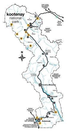 Map of Kootenay National Park ©️️ Parks Canada