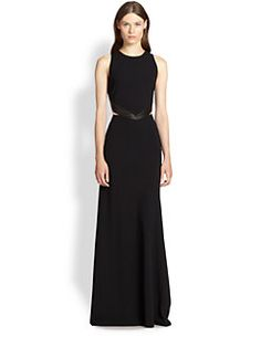 Alice + Olivia - Adel Leather-Trim Cutout Gown