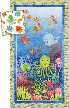 Under Sea Tropical Ocean Fish Panel Stonehenge Kids fabric Cotton Ocean Quilt, Beach Quilt, Fish Quilt, Stonehenge, Mermaid Quilt, Baby Quilt Patterns, Quilt Baby, Animal Quilts, Cotton Quilting Fabric