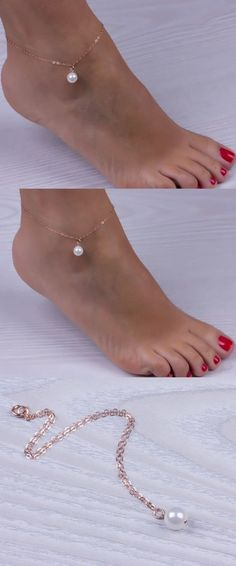 New Simple Gold Chain Imitation Pearl Anklet Beach Foot Chain Jewelry Ankle Bracelets For Women JL0005 #women'sanklets #anklets #GoldJewelrybraceletsimple