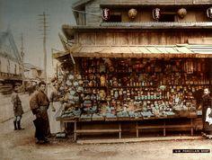 old photos of japan | Porcelain Shop in Old Japan