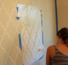 Stencil Wall...gonna do this with same color wall paint just in high gloss on top of flat